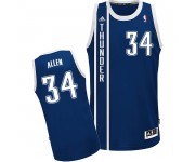 NBA Ray Allen Swingman Men's Navy Blue Jersey - Adidas Oklahoma City Thunder &34 Alternate