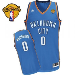 NBA Russell Westbrook Swingman Homme's Royal Blue Maillot - Adidas Oklahoma City Thunder #0 Road Finals