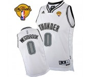 NBA Russell Westbrook Swingman Men's White on White Jersey - Adidas Oklahoma City Thunder &0 Finals