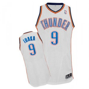 NBA Serge Ibaka Authentic Homme's Blanc Maillot - Adidas Oklahoma City Thunder #9 Home