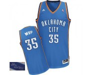 NBA Kevin Durant Authentic Homme's Royal Blue Maillot - Adidas Oklahoma City Thunder 35 Road Autographed