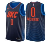 Hommes 2017-18 saison Russell Westbrook Oklahoma City Thunder &0 déclaration Navy Swing Maillot