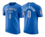 Hommes Russell Westbrook Oklahoma City Thunder &0 Icon Bleu Nom and Nombre Joueur T-Shirt