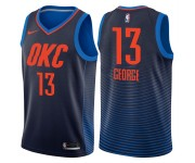 Hommes 2017-18 saison Paul George Oklahoma City Thunder &13 déclaration Marine Swing Maillot