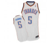 NBA Kendrick Perkins Authentic Men's White Jersey - Adidas Oklahoma City Thunder &5 Home