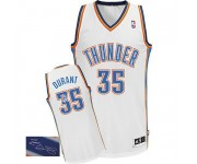 NBA Kevin Durant Authentic Men's White Jersey - Adidas Oklahoma City Thunder &35 Home Autographed